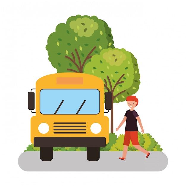 Enfants attendant le bus scolaire Vecteur Premium
