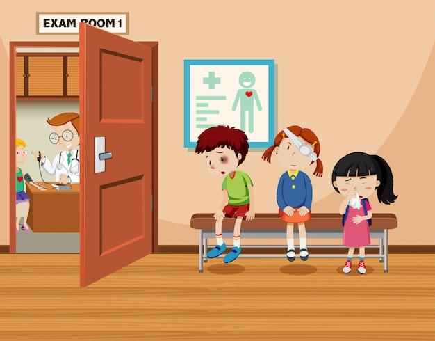 Les enfants attendent devant la salle d'examen Vecteur gratuit