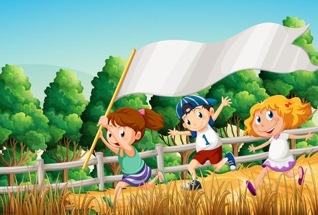 Enfants au bois avec une bannière vide Vecteur gratuit