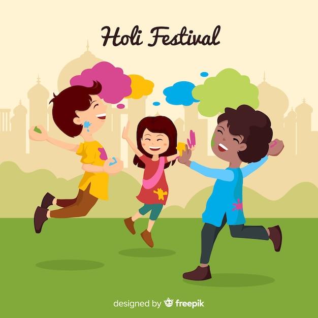 Enfants au fond du festival de holi Vecteur gratuit