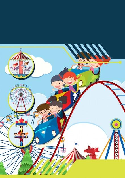 Enfants au modèle de parc à thème Vecteur Premium