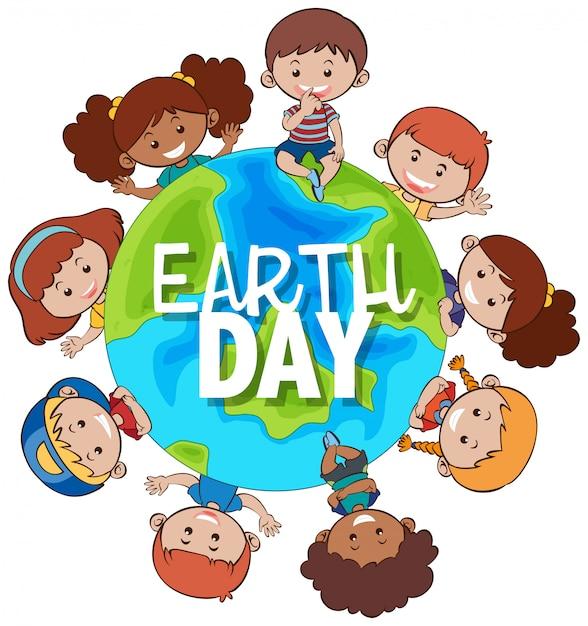 Les enfants autour de la terre pour la journée de la terre Vecteur gratuit