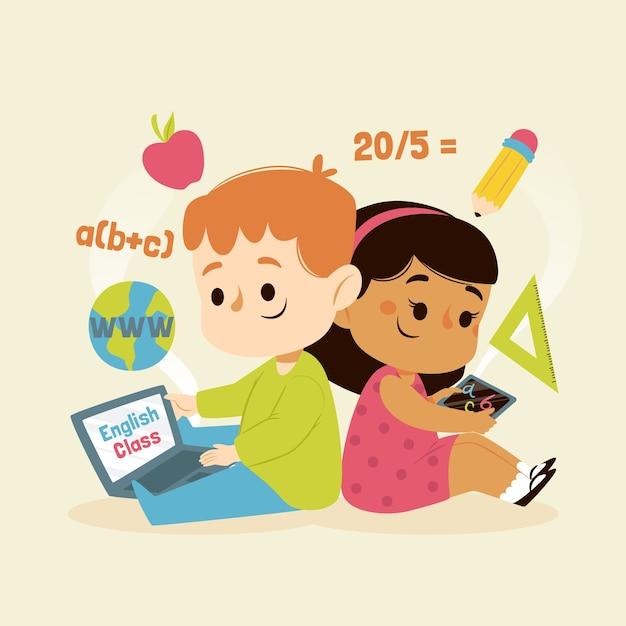 Enfants Ayant Des Cours En Ligne Vecteur gratuit