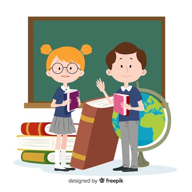 Enfants de bande dessinée retour au fond de l'école Vecteur gratuit