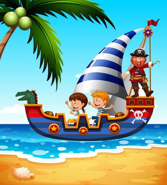 Enfants sur le bateau avec pirate Vecteur gratuit