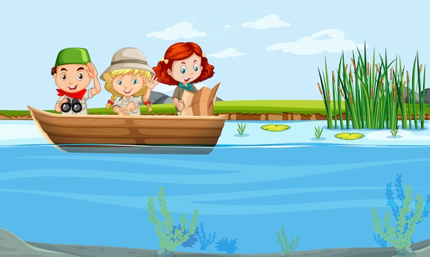 Enfants sur un bateau Vecteur gratuit