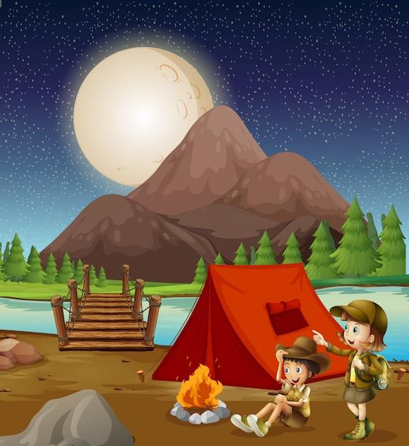 Enfants campant dans la nature Vecteur Premium