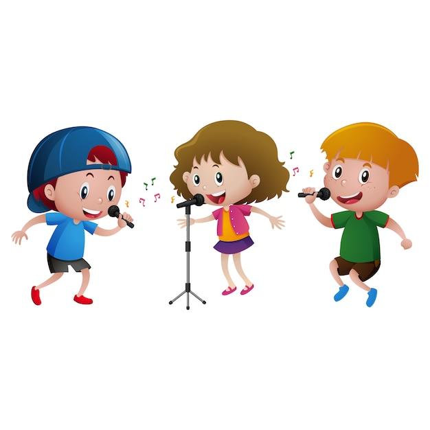 Les Enfants Chantant La Conception Vecteur gratuit