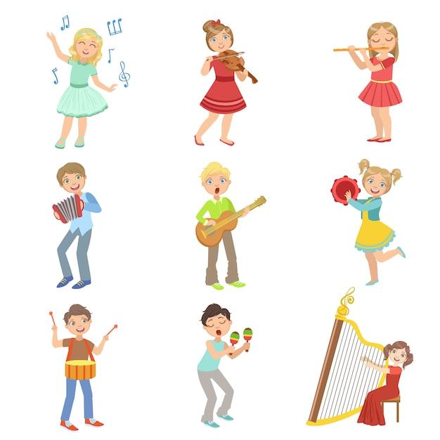 Enfants Chantant Et Jouant Des Instruments De Musique Vecteur Premium