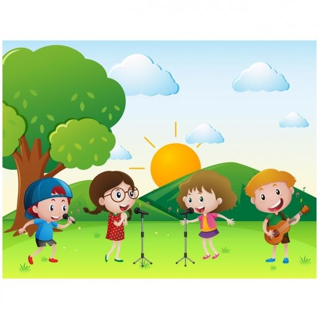 Enfants chantant à la prairie Vecteur gratuit
