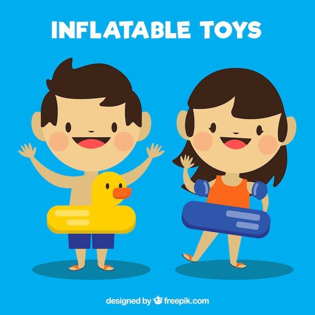 Enfants charmants avec flotteurs Vecteur gratuit