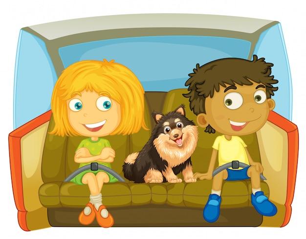 Enfants et chien assis dans la voiture Vecteur gratuit