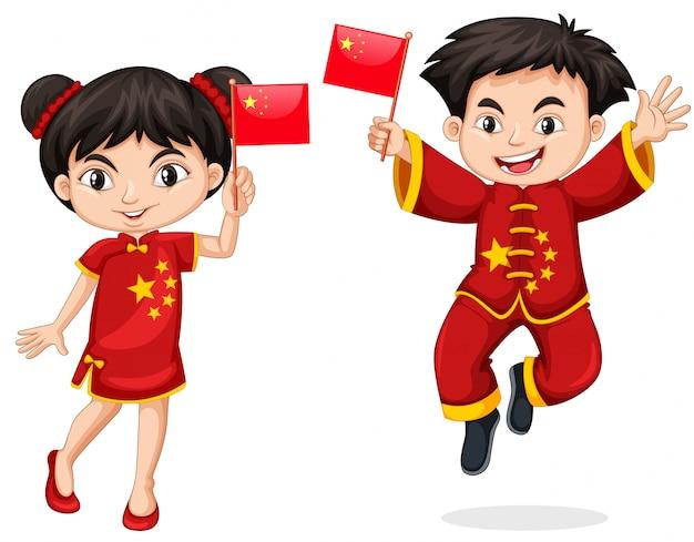 Enfants chinois tenant le drapeau Vecteur gratuit