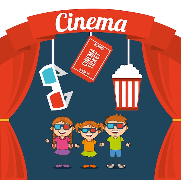 Enfants cinéphiles Vecteur Premium