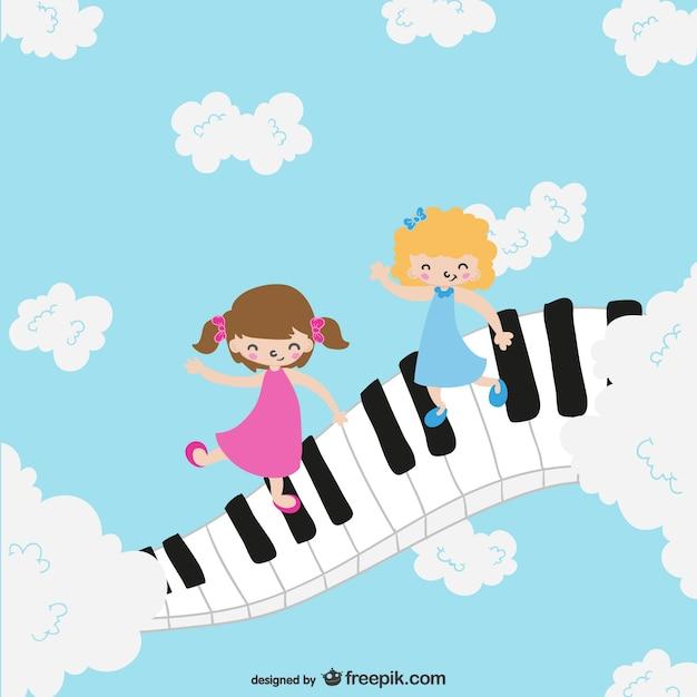 Les enfants sur le clavier de piano Vecteur gratuit
