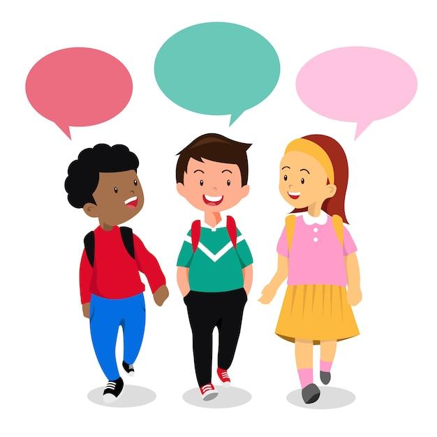 Enfants en conversation, Vecteur Premium