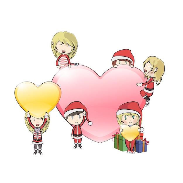 Enfants avec le costume du père noël autour de grand coeur Vecteur Premium