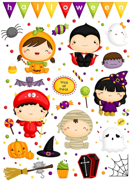 Enfants en costume d'halloween mignon vector set Vecteur Premium