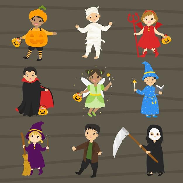 Enfants en costume d'halloween Vecteur Premium