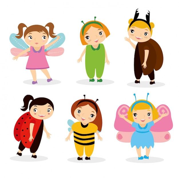 Enfants en costume Vecteur gratuit