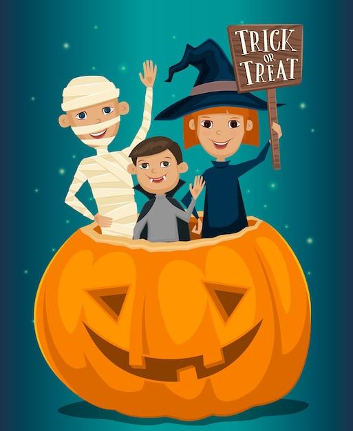 Enfants en costumes d'halloween Vecteur Premium