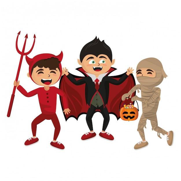 Enfants Avec Des Costumes D'halloween Vecteur Premium