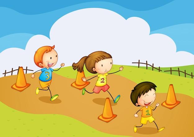 Enfants courir Vecteur gratuit