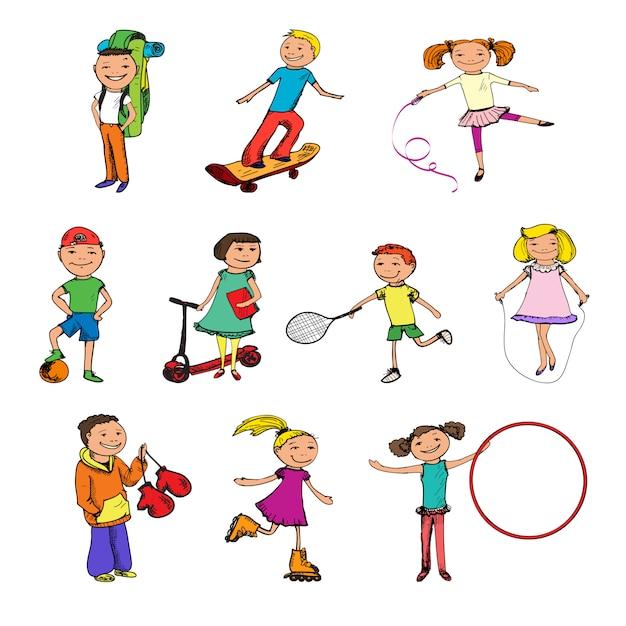 Enfants croquis colorés Vecteur gratuit