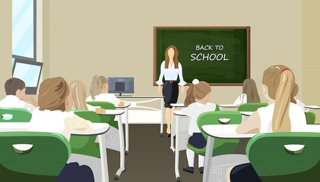 Enfants dans la classe écoutant le style plat de la leçon Vecteur Premium