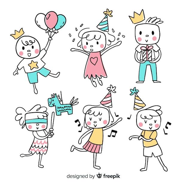 Enfants dans la collection d'anniversaires Vecteur gratuit
