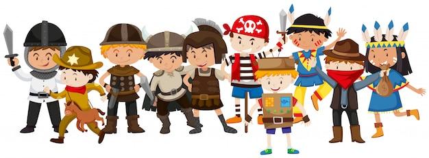 Enfants dans des costumes différents Vecteur gratuit