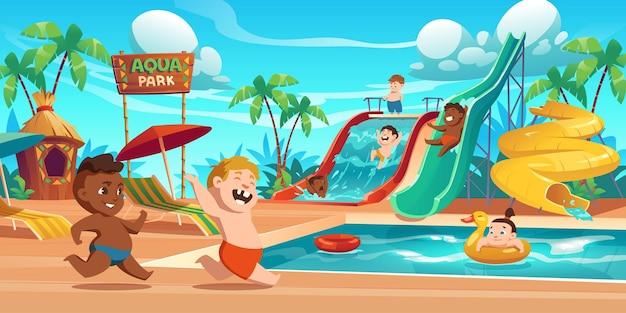 Enfants Dans Le Parc Aquatique, Parc Aquatique Avec Attractions Aquatiques Vecteur gratuit