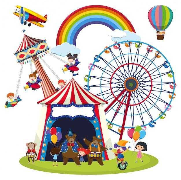 Enfants dans une scène de parc d'attraction Vecteur Premium