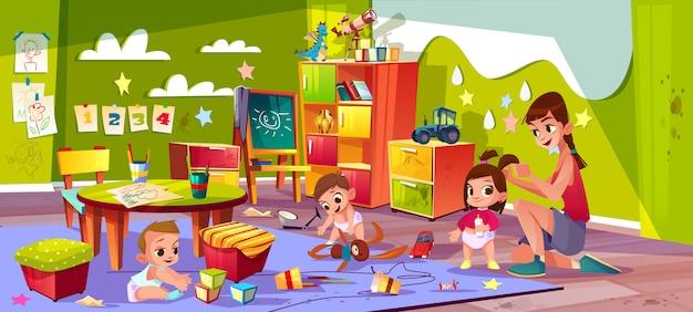 Enfants dans le vecteur de dessin animé de l'école maternelle. Vecteur gratuit