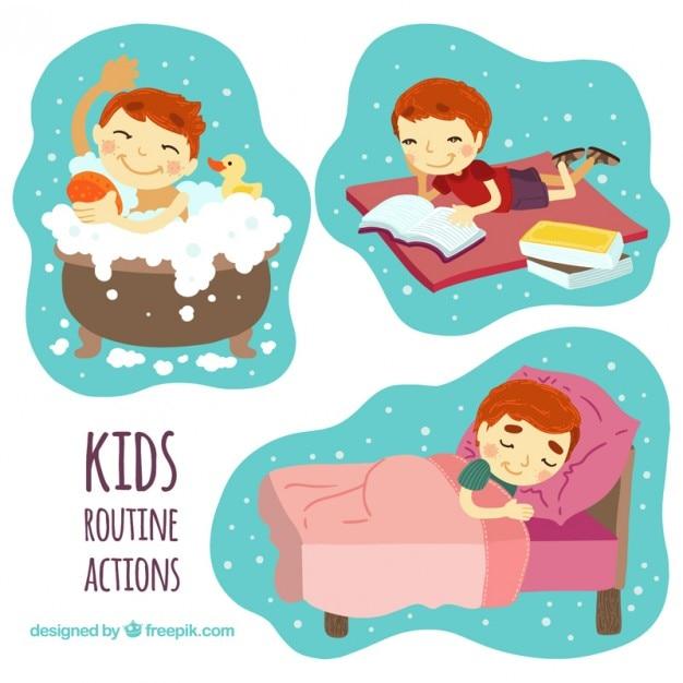 enfants de routine actions designs t l charger des vecteurs gratuitement. Black Bedroom Furniture Sets. Home Design Ideas