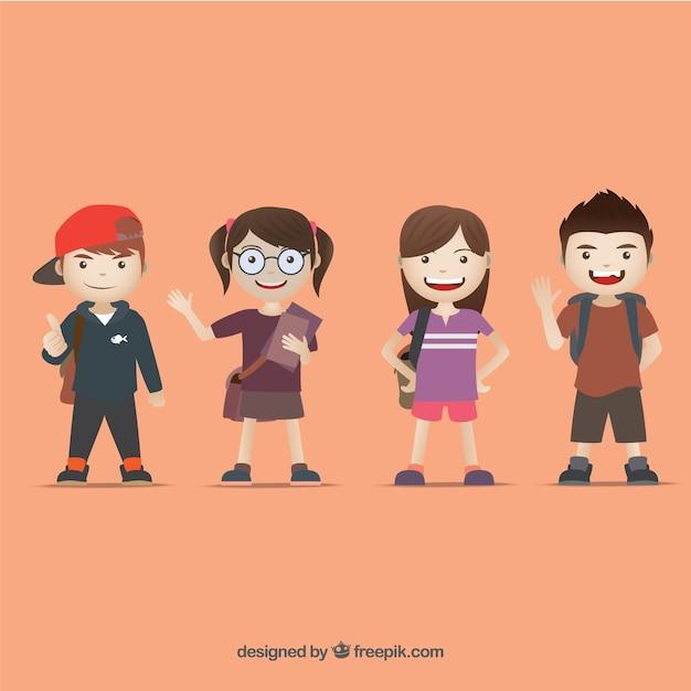 Les enfants déguisés pour l'école Vecteur gratuit