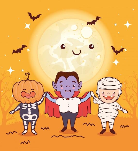 Enfants Déguisés Pour Joyeux Halloween Célébration Vector Illustration Design Vecteur Premium
