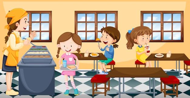 Enfants déjeunant à la cantine Vecteur Premium