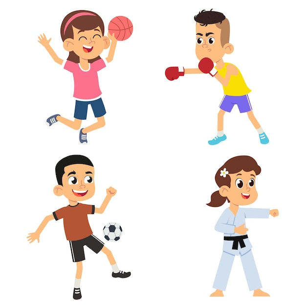 Enfants De Dessin Animé Faisant Du Sport. Football Et Boxe Garçons, Volley-ball Et Karaté Filles. Illustration Vecteur Premium