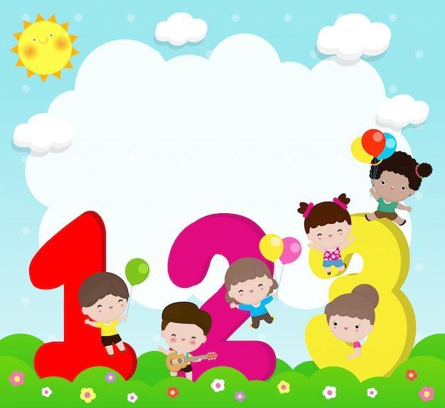 Enfants Dessin Animé Avec Des Nombres, Enfants Avec Des Nombres, Illustration Vectorielle De Fond Vecteur Premium