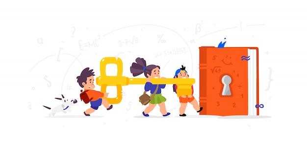 Enfants de dessin animé ouvrant un livre Vecteur Premium