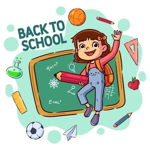 Enfants Dessin Animé De Retour à L'école Vecteur gratuit