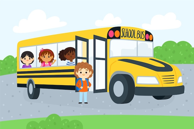 Enfants Dessin Animé De Retour à L'école | Vecteur Gratuite