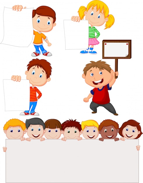 Enfants dessin animé tenant une pancarte blanche Vecteur Premium