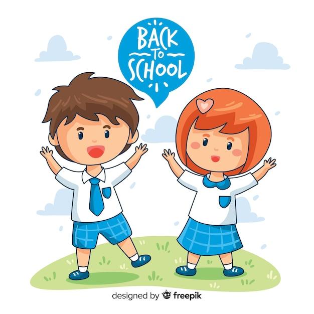 Enfants dessinés à la main au fond de l'école Vecteur gratuit