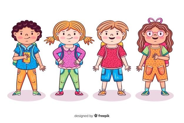 Enfants dessinés à la main à l'école Vecteur gratuit