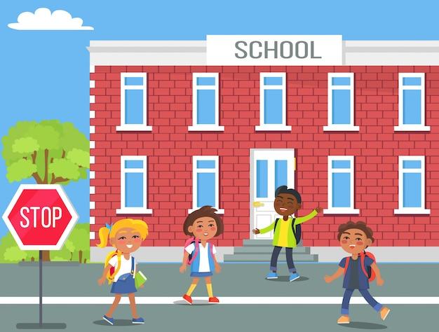 Enfants devant l'école cartoon illustration Vecteur Premium