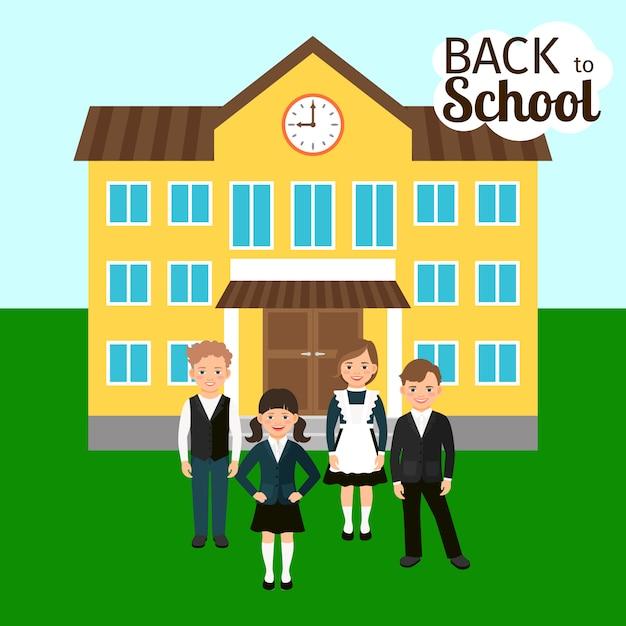 Enfants devant l'école Vecteur Premium