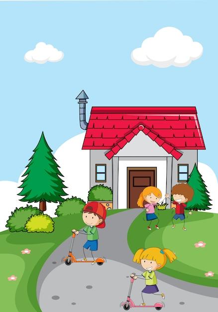 Enfants devant la maison Vecteur gratuit