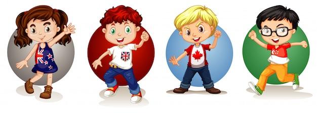 Enfants de différents pays Vecteur gratuit